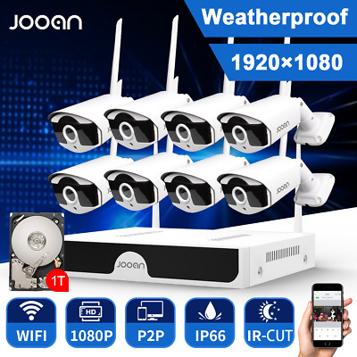 JOOAN HD 1080P Wireless HDMI 8CH Outdoor CCTV Home Security Camera System 2TB