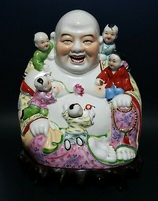 Antique Chinese Famille Rose Porcelain Laughing Buddha & Children Qing on Stand