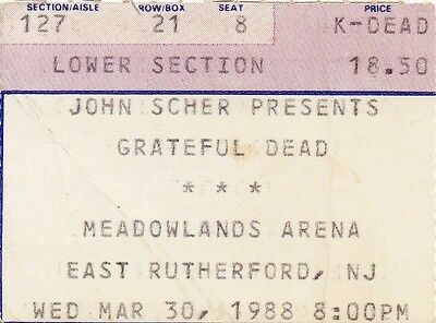 Grateful Dead Ticket Stub   03-30-1988  Meadowlands Arena