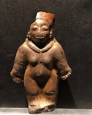 Pre Columbian Figure Ecuador Pottery Jama-Coaque Authentic 500 Bc- 500 A D