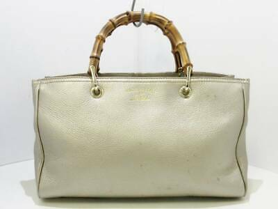d3139998c09 Auth GUCCI Bamboo Shopper Leather Tote 323660 ChampagneGold Leather Tote Bag