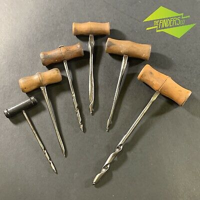 Lot X6 Antique Gimlet Hand Augers Drill T.berry Woodwork Old Tools