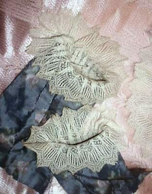 1840s Antique Fancy French Lace Cuffs & Collar frm Silk Gown Regency Empire