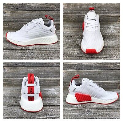 86a4e19ab ADIDAS NMD R2 PK White Core Red Running Shoes  BA7253  Men s Sz 4 ...