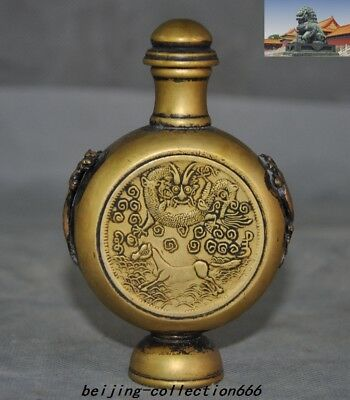"""4"""" Old China dynasty pure bronze lucky Zodiac animal Dragon statue snuff bottle"""