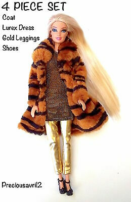 Brand new barbie doll clothes outfit clothing 4 piece set fur coat dress shoes