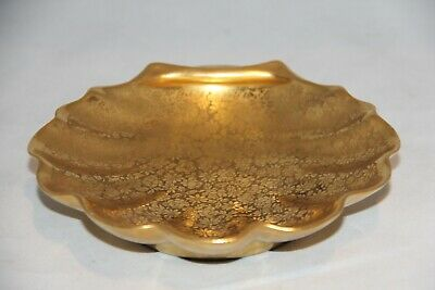 "GERMAN OSBORNE CHINA HAND PAINTED 22KT GOLD 6"" Shell Candy Dish Floral Pattern"
