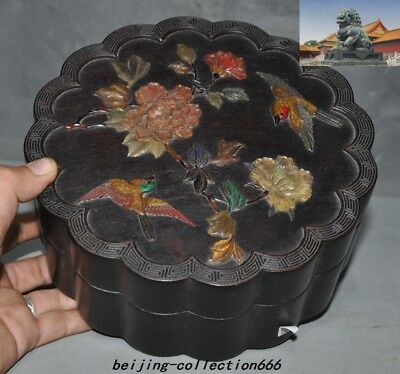 "9""Chinese Rosewood Wood Inlay Shoushan Stone shell flower bird jewelry Box Boxes"