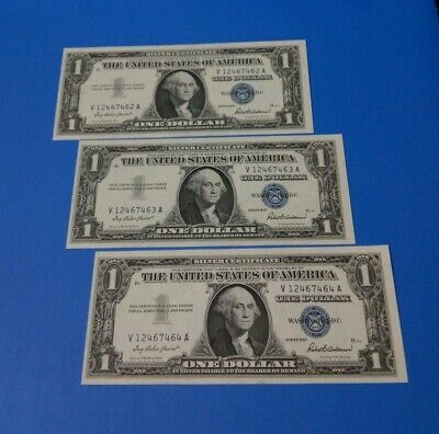 Lot of 3 1$ One Dollar 💲 Blue Seal * Silver Certificates 1957 Consecutive (AU)