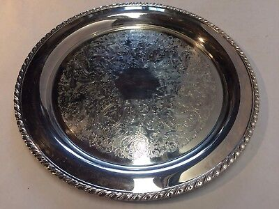 "Vintage Oneida 14 3/4"" Round Etched Silver Plate Serving Tray w/ Rope Border"