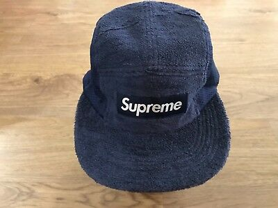 946c2347abe Supreme Terry Mesh Side Panel Camp Cap Hat Navy One Size OS 100% AUTHENTIC