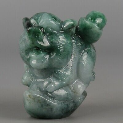 Chinese Exquisite Hand-carved pig Carving jadeite jade statue