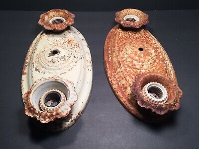 """As Is"" Pair Of Antique Metal Flush Mounted Light Fixtures! Need Restoration!"