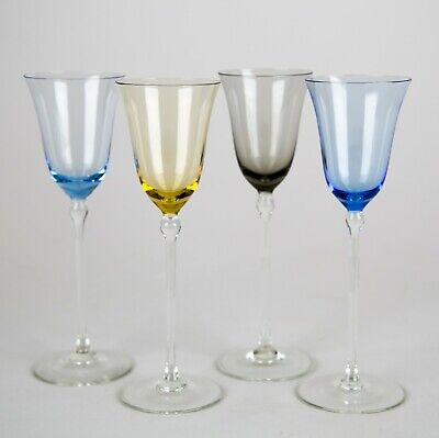 Vintage Multi Color Liquor Cordial Glasses, Set of (4), Blown Glass Stemware
