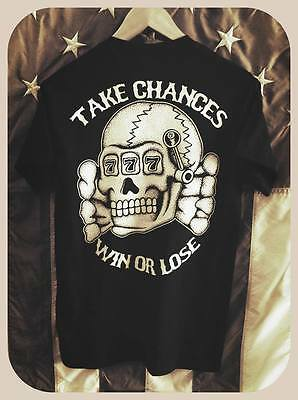 "Death Head ""take chances, win or lose"" Totenkompf outlaw biker tee shirt"