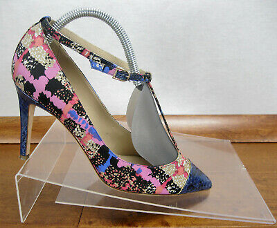 b072d56a6bbc3 J Crew Everly Multi Color Printed Cap Toe T Strap Pumps Heels Womens Size  9.5