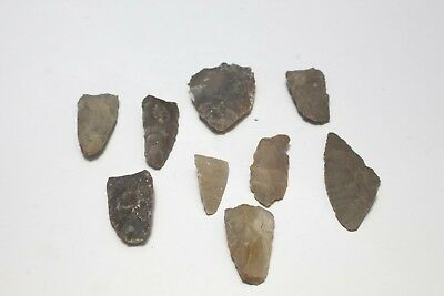Central Texas Lot Arrowheads Authentic Native American Indian Artifacts - 8 pcs.