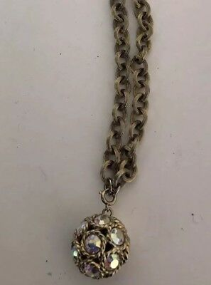 UNUSUAL ANTIQUE CHOKER STYLE NECKLACE W/ BALL CHARM OVER 60 Yrs OLD