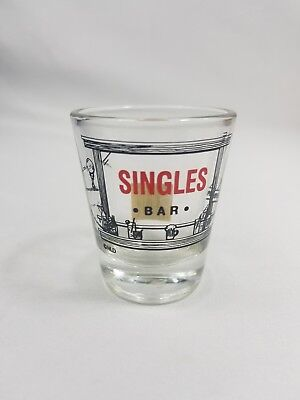 Singles Bar Shot Glass California,Souvenir,Shotglass,Barware,Vintage,Bar,Whiskey