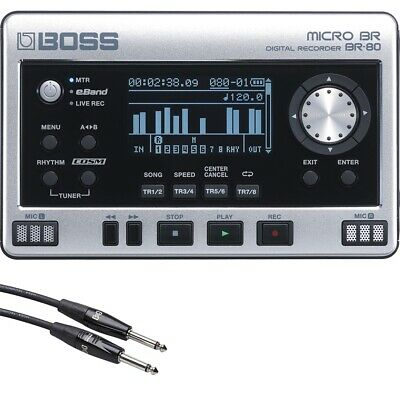 BOSS Micro BR BR-80 Digital Recorder with Free 20' Instrument Cable +Picks