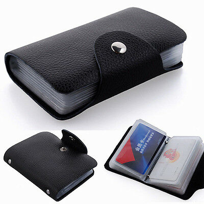 12/24 Slots Faux Leather Credit Card Case Purse Soft Pocket ID Holder STYLE