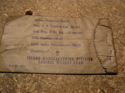 (2) Two M1 Carbine Magazine Catch  Springs in the original WW2 Package.