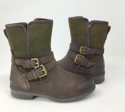 48d70ed075e NEW WOMENS UGG Simmens Leather Brown Buckle Wool Warm Mid Winter ...