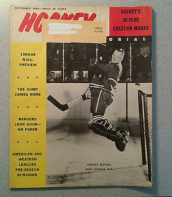 Hockey Pictorial Sep 63 Rare Johnny Bower Dave Keon Chase Leafs 3Rd Cup, Worsley