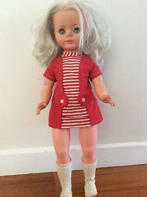 COLLECTABLE VINTAGE PEDIGREE DOLL 60s MOD GO-GO BOOTS GIRL 59cm HIGH SILVER HAIR