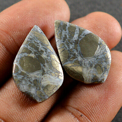 Natural Nipoma Marcasite Mix Pair Cabochon Loose Gemstone Collection BG-100