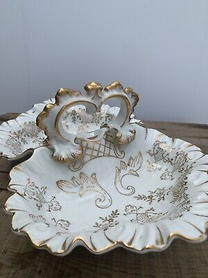 Antique porcelain China 2 sided serving dish tray with handle Gold Numbered