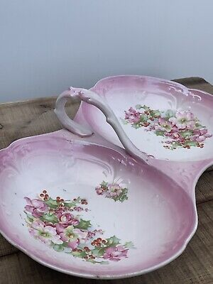 Antique Bavaria China porcelain 2 sided serving dish tray with handle Pink