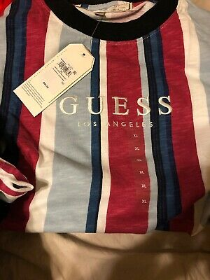 1083fed9f2 GUESS Originals Sayer Striped T Shirt Oversized Retro Embroidered Size XL  NEW