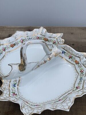Antique porcelain China 2 sided serving dish tray W/handle White Gold Unmarked