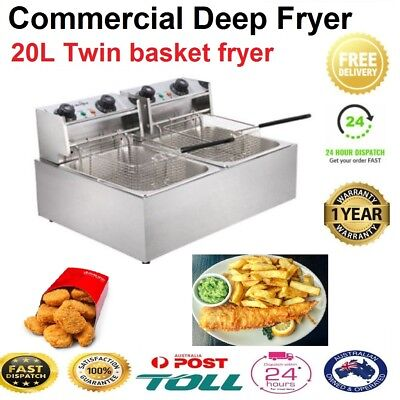 20L Twin Basket Commercial Deep Fryer Stainless Steel Fish Chips Frying Machine