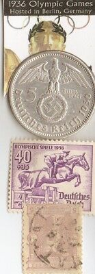 -193 -*german Olympic STAMP and silver(.900%,29mm,4016oz) 5 mk.coin/1896 stamp