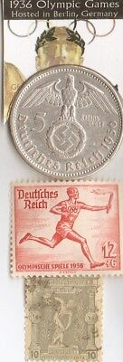 -1936 -*german Olympic STAMP and silver(.900%,29mm,4016oz) 5 mk.coin/1896 stamp