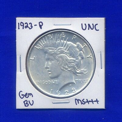 1923-P Peace Dollar Uncirculated US Mint Gem PQ Silver Coin BU Unc MS++++++