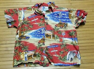 Toddler Boys RJC Hawaiian Shirt sz 1T Big Island Woody Vehicle Made in Hawaii
