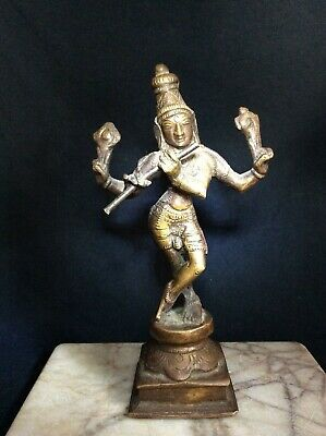 Antique Bronze Krishna Playing Flute Venugopala ~From An Old Collection