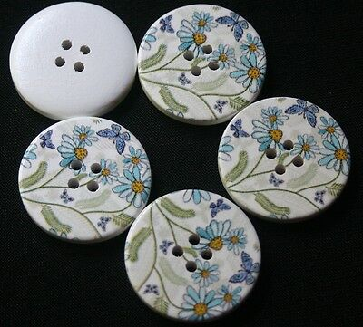 5 Blue Butterfly & Flowers on White Wooden Buttons - Sewing, Craft, Scrapbooking