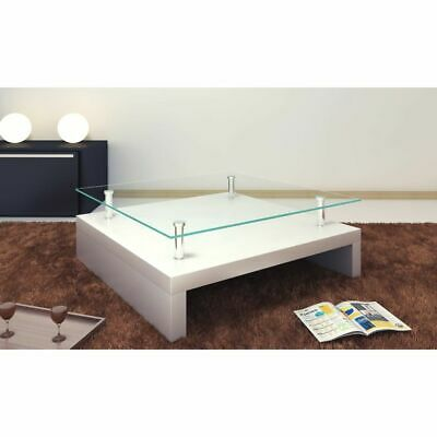 Glass Top Coffee Table Side Bedside Office Kitchen Modern Furniture High Gloss