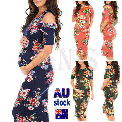 NEW Women Photography Prop Maternity Maxi Gown Strapless Floral Front Dress AU