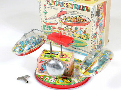 Mukesh Toys PlayLand SkyBus Ride Wind-Up Toy Tin Blech Kirmes OVP 1401-23-15