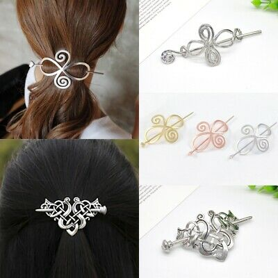Exquisite Lady Celtic Knot Hairpin Barrette Hair Slide Clip Shawl Pin Bun Holder