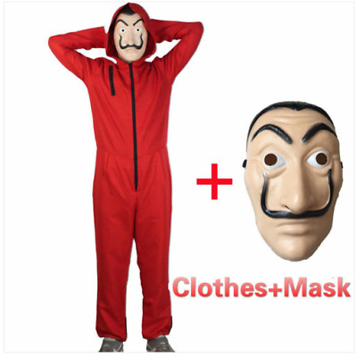 Salvador Dali La Casa De Papel Money Heist Cos Jumpsuit Mask Costume Cosplay