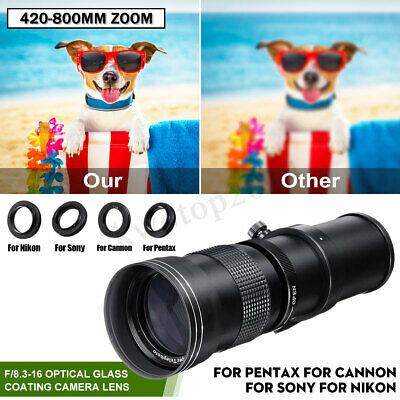 420-800mm F/8.3-16 Super Telephoto Lens Manual Zoom Lens + T-Mount for Canon
