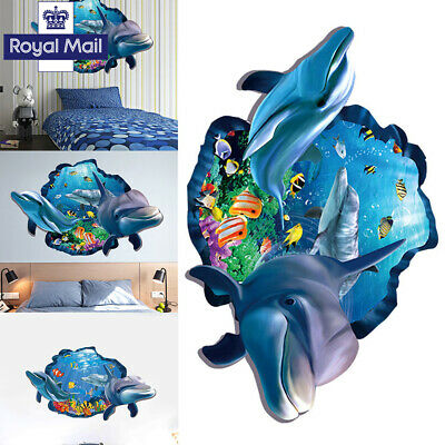 3D Dolphin Wall Tattoo Art Decal Wall Stickers Home Decor kids bathroom children