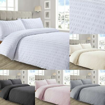 Seersucker Duvet Cover with Pillowcase Bedding Set Silver White Charcoal Pink