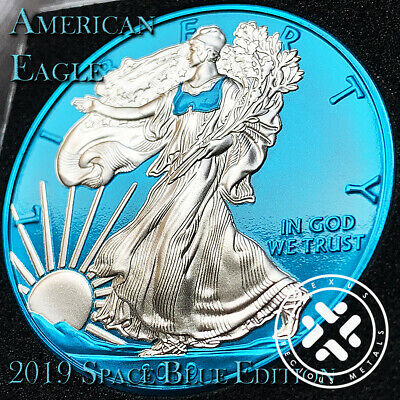 In Stock 2019 1 Oz 999 Silver Coin Space Blue Edition American Eagle With Coa